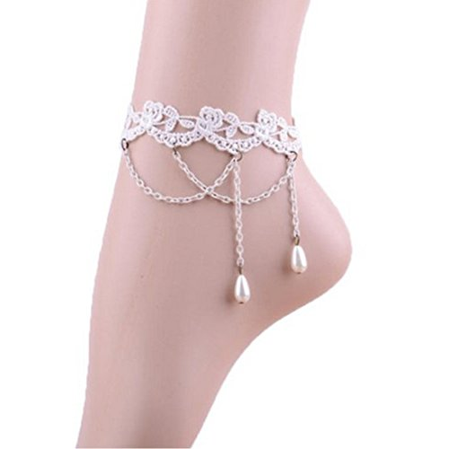 HSG luxury European Gothic style white lace anklet pearl tassels chain foot anklets