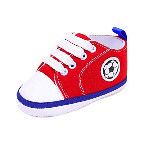 Huhu833 Kinder Mode Baby Schuhe Fußball Druck Turnschuh rutschfeste weiche alleinige Kleinkind Segeltuch Schuhe Rot