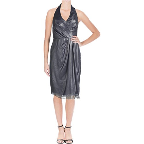 Vera Wang Women's Sleeveless Halter Cocktail Dress, Navy, 8