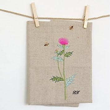 Flor bh tejido de lino bordado bordado inglés 60cm corte avena: Amazon.es: Hogar