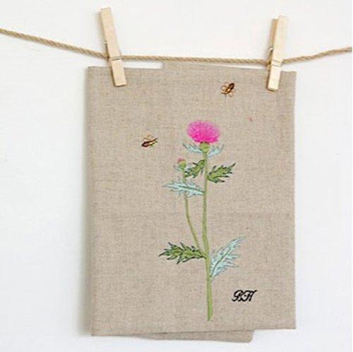 Flor bh tejido de lino bordado bordado inglés 60cm corte avena ...