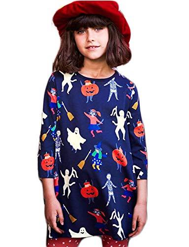 Toddler Little Kids Girl Hallowmas Pumpkin Long Sleeve Cotton Casual Dress 2-7 ()