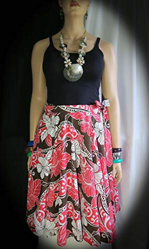 New! XL Hawaiian Hibiscus Queen Wrap Skirt - 1 Size Fits Large to 1XL US16-18 Made in Hawaii - 2 pockets - Polynesian Flair!