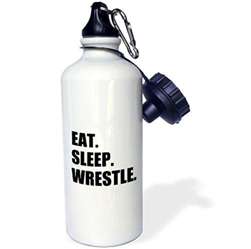 3dRose wb_180458_1 Eat Sleep Wrestle - black text wrestling fan wrestler sport enthusiast Sports Water Bottle, Multicolored, 21 oz by 3dRose