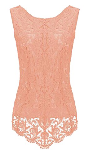 Sumtory Women's Lace Blouse Sleeveless Embroidery Tops Vest Shirt Blouse – Small, Orange