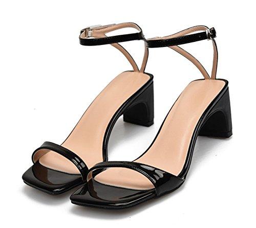 pie NVXIE Bloquear Medio Dedo furtivamente Fiesta 11 3 black Sandalias Zapatos Tacón Tamaño Señoras Mirar Correa Bajo Mujer Strappy Tobillo del rqpXvr