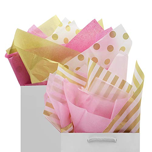 Tissue Gift Wrap Paper 60 Sheets Metallic Gold and Multi Color Pink Mix Set Premium Quality Recyclable Bulk, 26