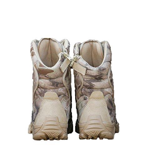 WZG botas de los hombres al aire en forma de bota botas de montaña cargadores tácticos de las fuerzas especiales resistentes al desgaste de amortiguación botas de combate sand color python