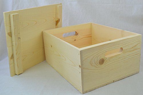 Wooden Boxes Crates - Wooden Pine Box with Hand Holes and a Drop on Lid