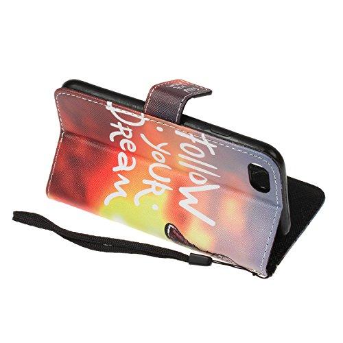 Para iPhone 7 Plus (5,5 zoll) funda, (datura) caja del teléfono de la PU patrón en relieve ,Función de Soporte Billetera con Tapa para Tarjetas correa de mano soporte para teléfono campánula misteriosos
