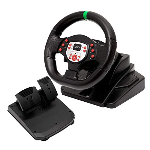 DOYO 180 Degree Motor Vibration Driving Sport Gaming Racing Wheel with Responsive Gear and Pedals for XBOX One/PS3/SWITCH/PC/TV BOX (Xbox 360 Steering Wheel And Pedals For Sale)