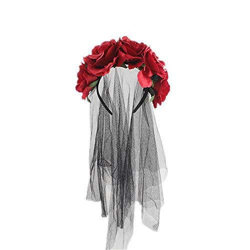 Kanggest Rose Flower Wreath Black Mesh Halloween Ghost Festival Bride Party Headband Head Wrap Hair Band Hoop Mesh Headwear Accessories Costume Dress Up Hats Party Favor Decoration -