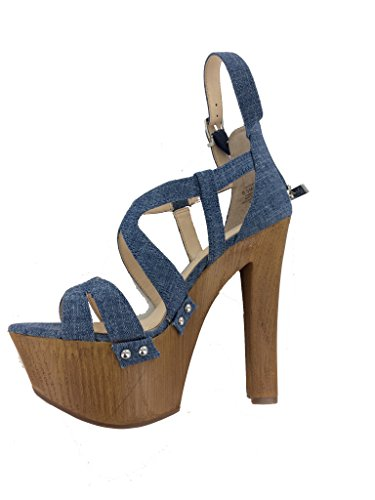 Jessica Simpson Womens Dorrin Leather Open Toe Special Occasion, Blue, Size 7.5