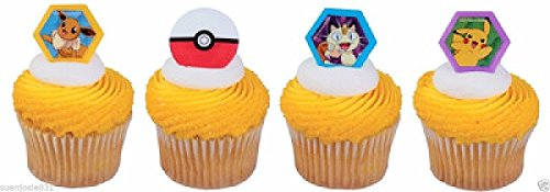 24 POKEMON I CHOOSE YOU CUPCAKE RINGS CAKE TOPPERS -