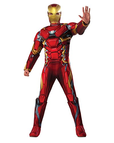 Iron Man Costumes For Adults (Marvel Men's Captain America: Civil War Deluxe Muscle Chest Iron Man Costume, Multi, X-Large)