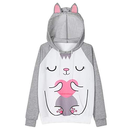 URIBAKE Womens Rabbit Long Sleeve Hoodie Sweatshirt Hooded Pullover Tops ()