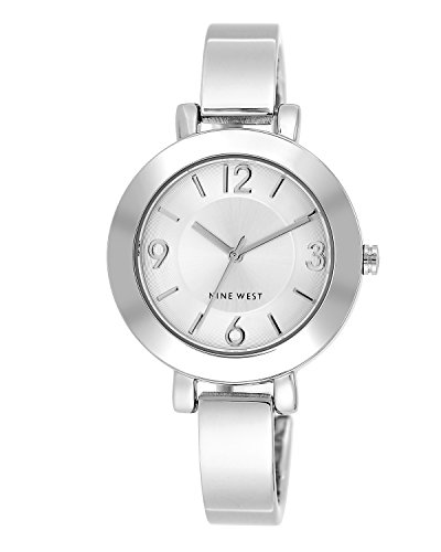 Cole Silver Dial - Nine West Women's NW/1631SVSB Silver-Tone Sunray Dial and Bangle Watch