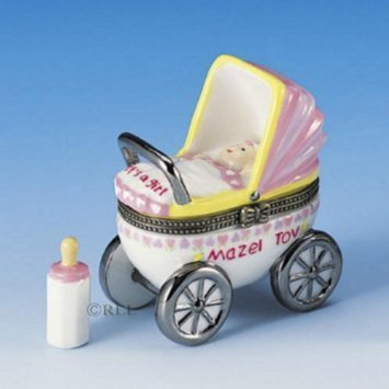 Girl Jewish (Mazel Tov Baby Hinged Box Carriage with Baby Bottle Treasure (pink))