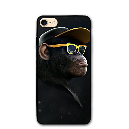 4.7 Inch iPhone 8 Case Monkey Gorilla with Glasses Anti-Scratch Shock Proof Hard PC Protective Case Cover