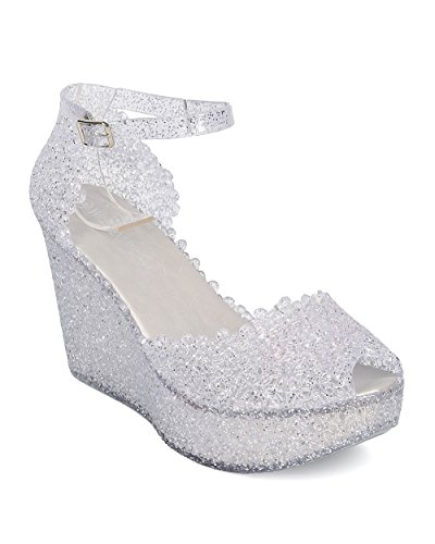 Wild Diva Women Glitter Jelly Platform Wedge - Casual, Dressy, Day Date - Perforated Wedge Sandal - GD74 by Clear (Size: 9.0)