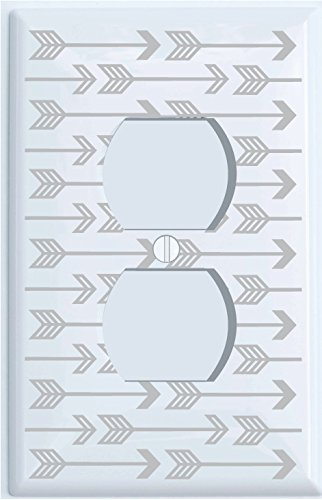 Grey Arrow Print Light Switch Plate and Outlet Covers/Grey Woodland Nursery Decor for Baby Boys or Girls (Outlet Cover)