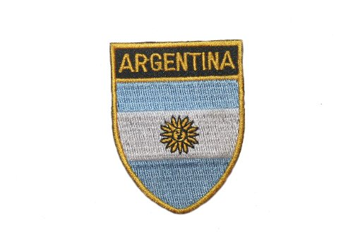 Argentina Country Flag OVAL SHIELD Embroidered Iron on Patch Crest Badge 2 X 2 1/2 Inch .. ()