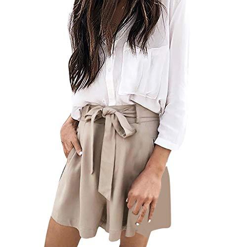❤️Sumeimiya Womens Solid Short Pants, Fashionable Elastic Waist Bowknot Shorts Casual Loose Short Pant with Pocket Beige ()