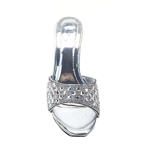 Rhinestone High Silver Platform Sandals Womens Brieten Bling Heel Slide New txXTST