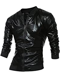 Men's Metallic Zip Up Varsity Baseball Bomber Jacket