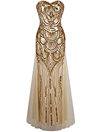 Angel-fashions Women's Strapless Sweetheart Sequins Lace Up Party Dresses