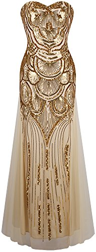 (Angel-fashions Women's Sequin Strapless Sweetheart Mesh Lace up Banquet Dress Small Gold)