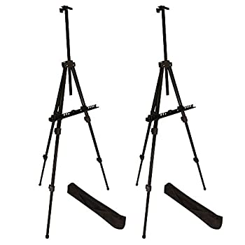 Image of Berland Display Easel Stand, Aluminum Metal Tripod Portable Field Easel 22-71' Adjustable with Bag for Table-Top/Floor, Black Art Easels for Poster, Displaying, Flip Charts and Paint (6-Pack) Arts & Crafts Supplies
