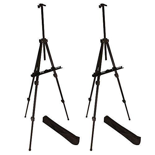 "Berland Artist Easel, Black Aluminum Metal Display Easel Stand with Bag for Floor/Table-Top/Flip Charts, Portable Field Art Easels w/Adjustable Height 22-71"" for Posters, Kids Painting (2-Pack)"