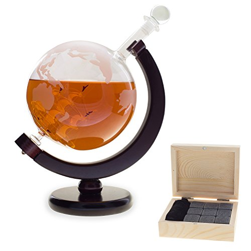 Extra Large Red Wine & Whiskey Decanter | 1500ML Glass Etched Globe with Ship and FREE Engraved Wood Box Set of 9 Granite Whisky Stones for Bourbon, Brandy, Scotch or Other Liquors. Lead Free.