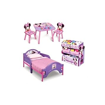 Minnie Mouse Toddler Bedroom Furniture 3 Piece Set Girls Pink Toddler Bed  With Minnie Multi Bin