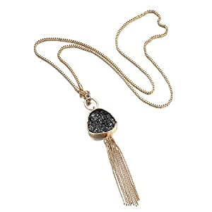 "eManco ""Golden Fleeting"" Bohemian Tassel Pendant Long Statement Necklace Women Jewelry"