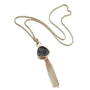 eManco Statement Long Necklace Golden Plated & Black Imitation Stone Pendant Fashion Jewellery for Women