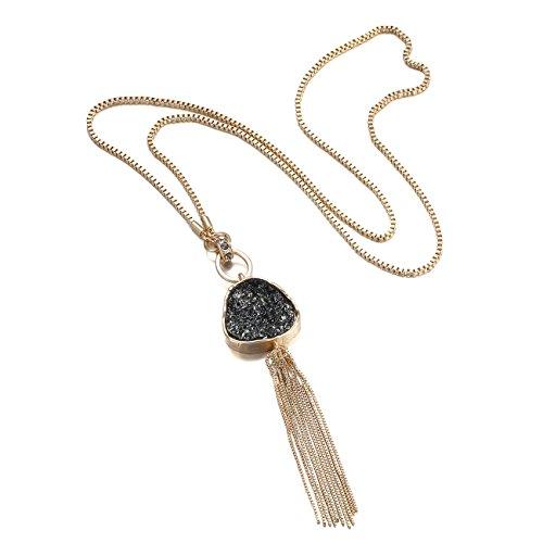 eManco Statement Long Necklace Golden Plated & Black Imitation Stone Pendant Fashion Jewellery for (Imitation Stone)
