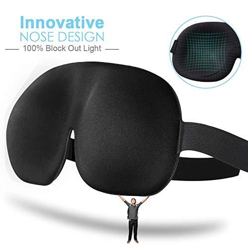 OriHea Eye Mask for Sleeping, Large Sleep Mask Men Women, Block out Light Eye Cover, Soft 3D Adjust Strap No Pressure Blindfold Comfort Black