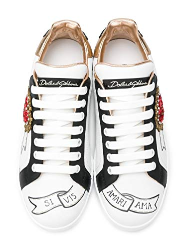 Bianco Donna Dolce Pelle Gabbana amp; Ck1544az138hwt77 Sneakers wSxwqPYav