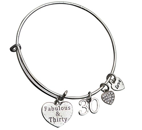 30th-Birthday-Gifts-for-Women-30th-Birthday-Charm-Bracelet-Adjustable-Bangle-Perfect-30th-Birthday-Gift-Ideas