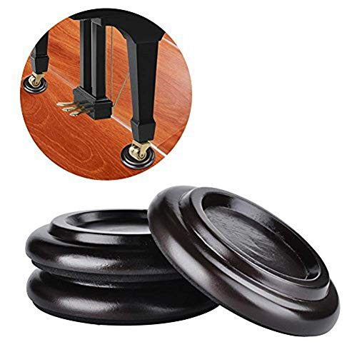 Piano Caster Cups,TOPCHANCES Premium 3 Pcs Grand Piano Caster Pads w/EVA Anti-Slip & Anti-Noise Foam Mat, Solid Wood Coasters Cups Piano Leg Pad for Tripod Grand Piano (PA-20 ()