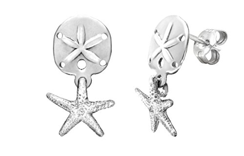 Sterling Silver Sand Dollar and Starfish Stud Earrings