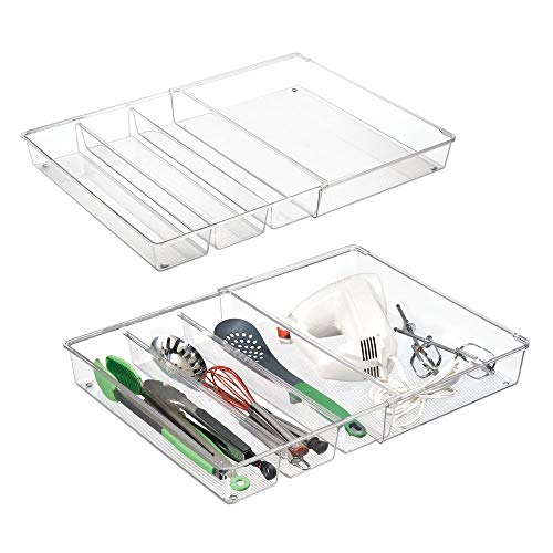 mDesign Adjustable, Expandable 4 Compartment Kitchen Cabinet Drawer Organizer - Divided Sections for Cutlery, Serving Spoons, Cooking Utensils, Gadgets - BPA Free, Food Safe, 3