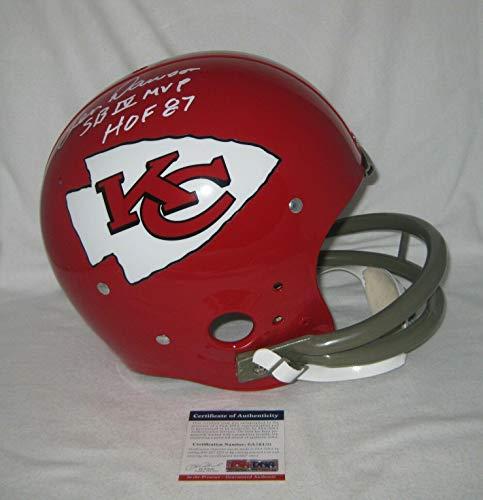 - Len Dawson Signed Helmet - TK 2 BAR w HOF 87 & SB IV MVP - PSA/DNA Certified - Autographed NFL Helmets