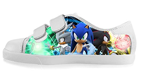 LeonBin Custom Sonic The Hedgehog Boy's High-top Canvas Shoes Casual Sneakers For Kids (Sonic The Hedgehog Sneakers)