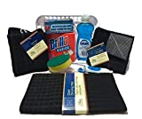 College Dorm/Apartment Kitchen Essentials Cleaning Supplies Kit | 8 Items | Dish Cloth, Soap, Steel Wool Pads, Scrub Brush, Sponges, Kitchen Towel, Drying Mat & Storage Basket