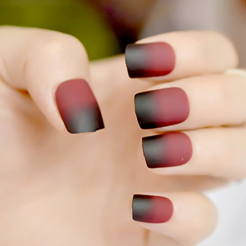 Amazon.com: Renovatio Store - Wine Red Frosted Fake Nails Tips Black Square Gradient False Nail Medium Full Wrap Acrylic Easy DIY Salon Product 24Pcs Z858: ...