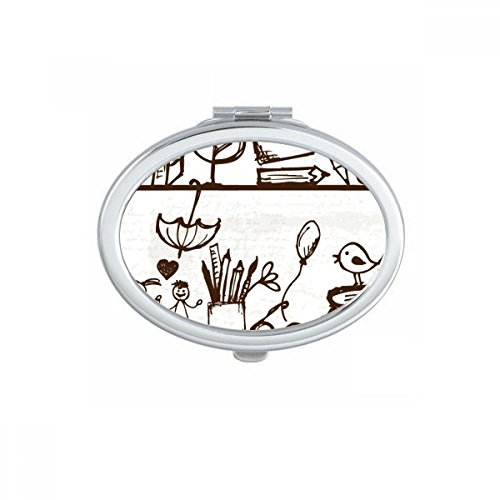 Childlike Children Cute Hand-drawn Illustration Bookshelf College Oval Compact Makeup Pocket Mirror Portable Cute Small Hand Mirrors Gift by DIYthinker (Image #3)