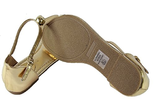 flops Strap Sandals Gold Gold Merino Metal Thongs Womens Buckle skull Flat flip T Decor qzq0wZW7